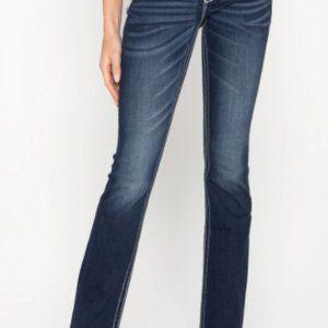 Miss Me Loose Saddle Stitch Border Boot Cut Jeans